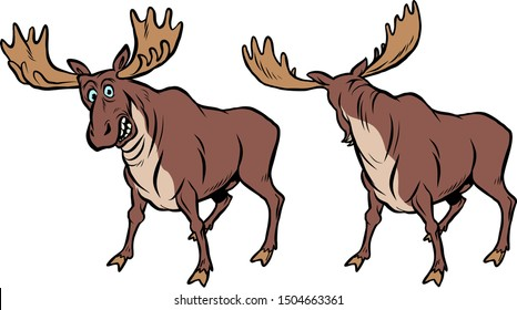 Funny moose with funny reaction. comic cartoon pop art retro vector illustration drawing