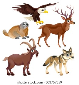 Funny mountain animals, deer, eagle, groundhog, steinbock, wolf. Vector cartoon isolated characters.
