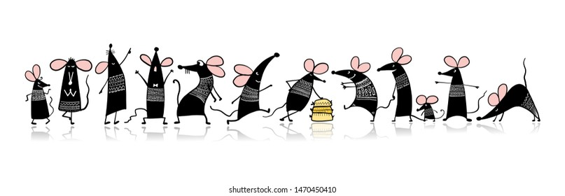 Funny mouse family, symbol of 2020 year. Banner for your design