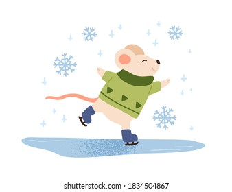 Funny mouse ice skating vector flat illustration. Cute baby animal in warm sweater enjoying skating on ice rink isolated on white. Happy character. Winter outdoor recreational activity