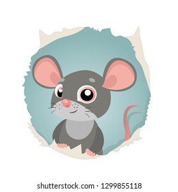 Funny Mouse Looking Out Of Hole In Paper Vector On A White Background. Funny Animal Cartoon Character Illustration. Cute Cartoon Rat Vector.