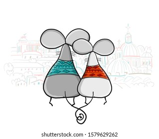 Funny mouses party, cityscape background. Banner for your design. Vector illustration
