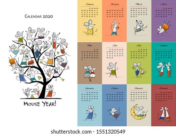 Funny mouses party, symbol of 2020 year. Calendar design. Vector illustration