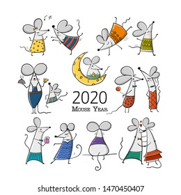 Funny mouses, symbol of 2020 year. Banner for your design