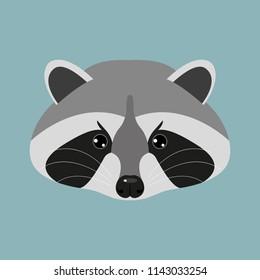 Funny mug of a raccoon, cartoon character, flat design. Animals, nature. Vector illustration. EPS10