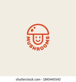 Funny mushroom logo design template in linear style. Vector illustration.