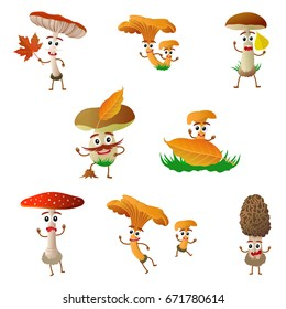 Funny mushroom porcini character, mascot, cartoon vector illustration isolated on white background. Humanized, childish mushroom with smiling faces, arms and legs. Autumn, fallen leaves, dry grass.