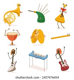 Funny Musical Instruments Cartoon Characters with Funny Faces Set, Guitar, Synthesizer, Flute, Bagpipes, Balalaika, Cymbals, Drum Vector Illustration