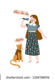 Funny musicians - young girl and cat sing a duet. Vector illustration for music festival.  Bright poster design for jazz or folk concert.