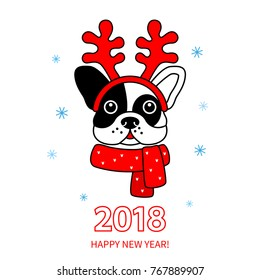 Funny muzzle of a bulldog wearing deer horns and a scarf. Greeting card with a new year 2018 - the year of the dog. linear vector illustration in a linear style isolated
