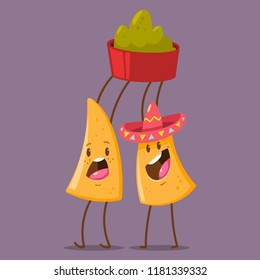 Funny Nachos character in sombrero with guacamole dip. Cute mexican food vector cartoon illustration isolated on background. Best friends concept design.