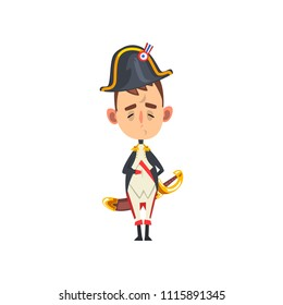 Funny Napoleon Bonaparte cartoon character, comic French historical figure vector Illustration on a white background