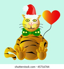 Funny New Year's Tiger with heart balloon