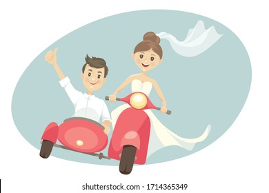 Funny newlyweds on a scooter with sidecar. Vector illustration, card, bride and groom in a hurry on a journey