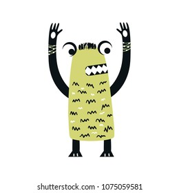Funny nursery poster with cute monster. Color kids vector illustration in scandinavian style.