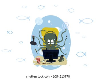 funny octopus at the computer.the concept of workload