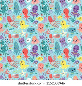 Funny octopus seamless pattern