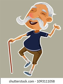 Funny old man, vector illustration