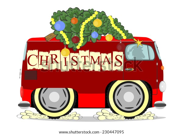 Funny old van with a Christmas tree on the roof. Vector illustration without gradients on one layer.