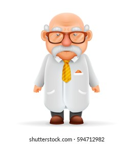 Funny Old Wise Scientist Grandfather Pointing Thumbs Up 3d Realistic Cartoon Character Design Isolated Vector Illustration