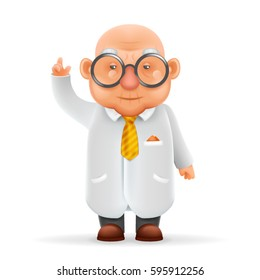 Funny Old Wise Scientist Grandfather Pointing Thumbs Up Realistic Cartoon Character Design Isolated Vector Illustration