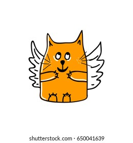 Funny orange cat with angel wings and sly smile. Vector illustration.