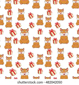 Funny orange hamster with boxes of gifts.