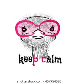 Funny ostrich pink sunglasses. Lettering creative phrase, youth style. Doodle drawing brush hand-painted dark background. Keep calm. Sketch funny ostrich keep calm. Trendy ostrich.