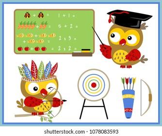 Funny owl cartoon vector, teacher and archer