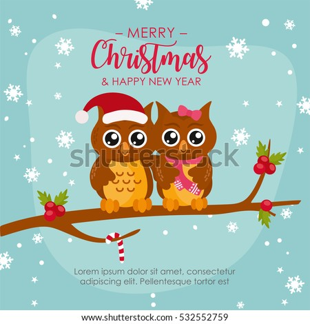 Funny Owl Couple Merry Christmas Greeting Stock Vector (Royalty Free ...