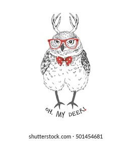 funny owl with deer horns, hand drawn graphic, animal illustration
