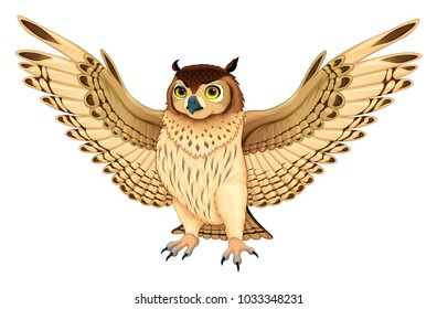 Funny owl with opened wings. Vector cartoon isolated animal.