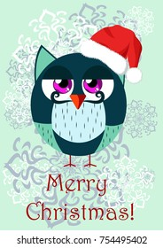 A funny owl-gentleman in the cartoon style in Santa's Christmas hat for your design