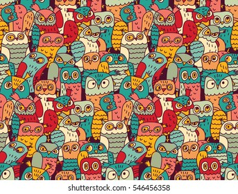 Funny owls birds group color seamless pattern. Color vector illustration. EPS8