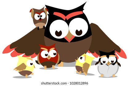 Funny owls, mom and little chicks around her, vector