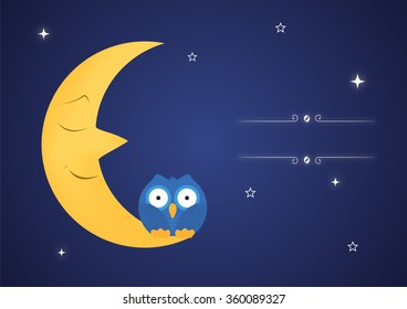 Funny owls on fairy moon. Vector illustration
