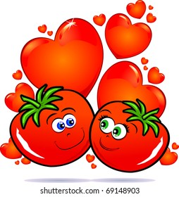 A funny pair of tomatoes you smile with love, vector