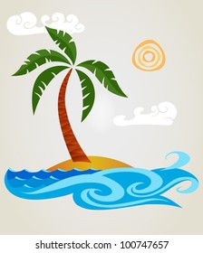 Funny palm tree on a small island.Isolated on background.