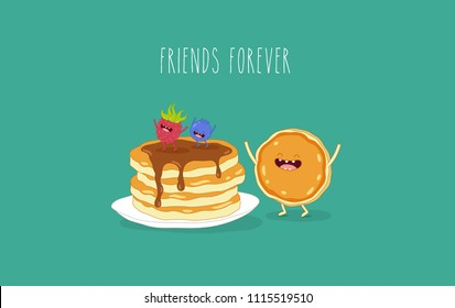 Funny pancakes with raspberries and blueberry. Vector illustration. You can use for cards, fridge magnets, stickers, posters, menu.