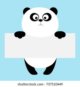 Funny panda bear hanging on paper board template. Big eyes. Kawaii animal body. Cute cartoon character. Baby card. Flat design style. Blue background Isolated. Vector illustration