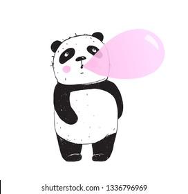 Funny Panda Chewing Gum Bubble. Cute Panda bear shewing gum and making bubble.