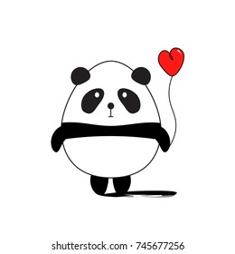 Funny Panda with Red Heart. Greeting card for Valentine's Day. Vector illustration flat design