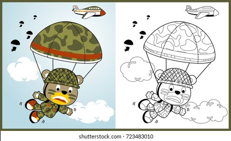 funny paratroopers on the sky, vector cartoon illustration, coloring book or page