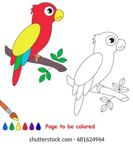 Funny Parrot to be colored, the coloring book for preschool kids with easy educational gaming level.