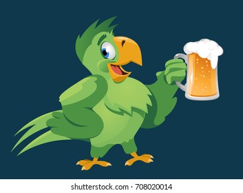 Funny parrot giving a toast with a mug of beer. Oktoberfest Party or just a weekend. On dark background. Cartoon styled vector illustration. No transparent objects.