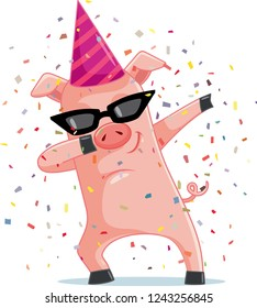 Funny Party  Pig Dabbing  Vector Cartoon. Dancing piggy mascot logo character design