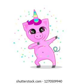 Funny Party Pig unicorn dabbing vector illustration