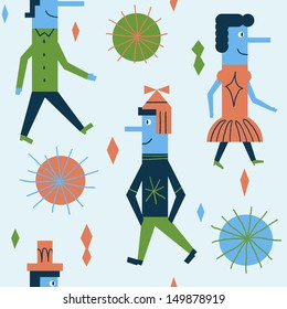 Funny pattern with cheerful people. Vector seamless design