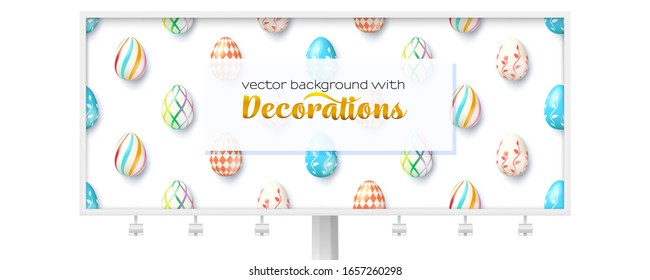 Funny pattern with eggs on billboard. Long ad panel decorated with easter eggs. Colored eggs painted natural ornaments. Vector 3d illustration