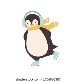 Funny penguin wearing earmuffs and scarf enjoying ice skating vector flat illustration. Cute arctic animal during outdoors activity isolated on white background. Colorful polar baby bird having fun